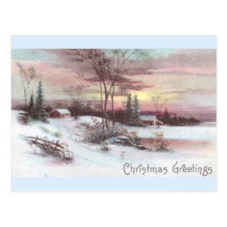 Cartão Postal Cena idílico do inverno do país com por do sol