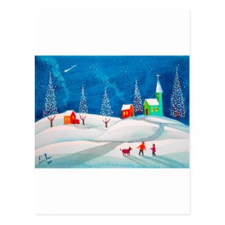 Cartão Postal Cena ingénua popular da neve do inverno da arte da