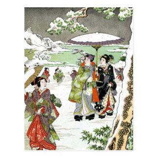 Cartão Postal Cena japonesa do inverno