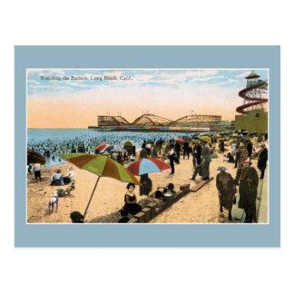 Cartão Postal Cena Long Beach CA da praia do vintage c 1910