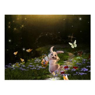 Cartão Postal Cena mágica do coelhinho da Páscoa da fantasia