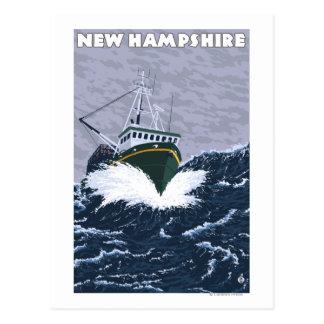 Cartão Postal Cena nova do barco de pesca de HampshireCrab