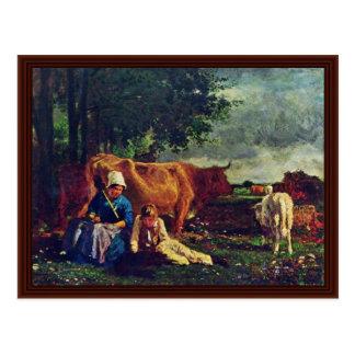 Cartão Postal Cena pastoral pela constante de Troyon