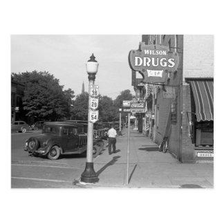 Cartão Postal Cena Urbana da rua, Ohio, 1938