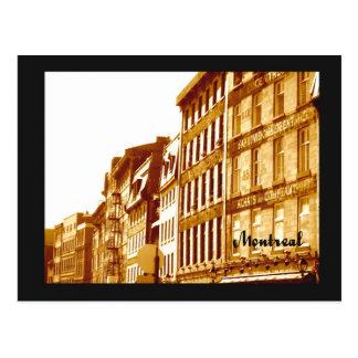 Cartão Postal cena velha da rua da foto do sepia de Montreal do