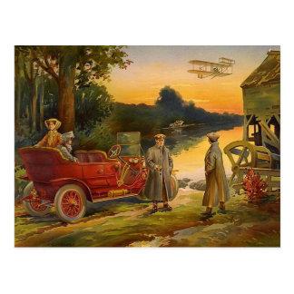 Cartão Postal Cena velha do vintage do biplano e do carro de