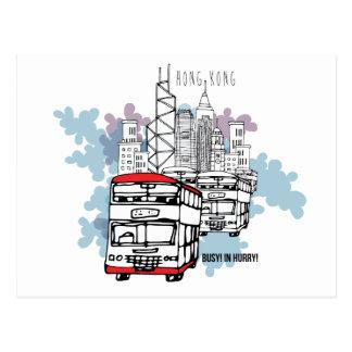 Cartão Postal Cenário ocupado do estilo de vida de Hong Kong