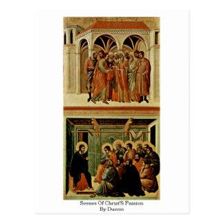 Cartão Postal Cenas da paixão dos cristos por Duccio