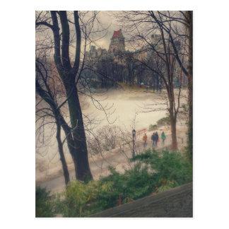 Cartão Postal Central Park em um dia de inverno morno