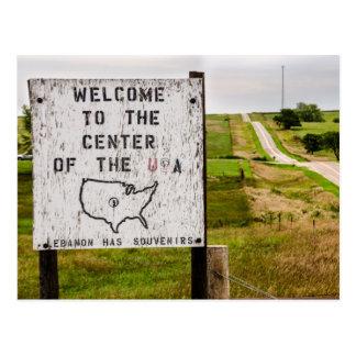 Cartão Postal Centro geográfico dos EUA - Líbano, Kansas