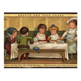 Cartão Postal Cerca de 1880: Uma refeição no Natal