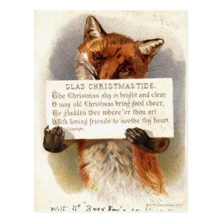 Cartão Postal Cerca de 1900: Uma raposa guardara um verso do