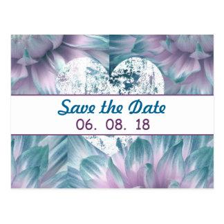 Cartão Postal Cerceta impressionante e coleção roxa do casamento