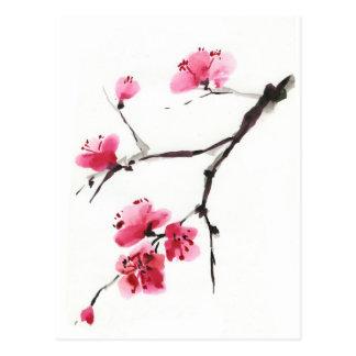 Cartão Postal Cereja de florescência. Primavera. Tinta e escova