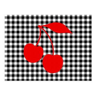 Cartão Postal Cerejas vermelhas com guingão preto