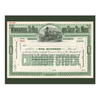 Cartão Postal Certificado de acções comuns do vintage, finança