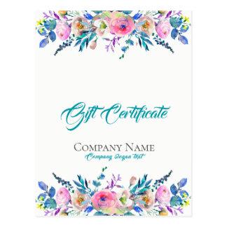 Cartão Postal Certificado de presente colorido do buquê das