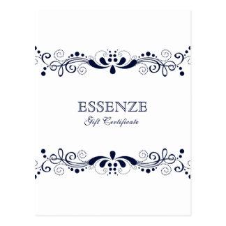 Cartão Postal Certificado de presente floral azul marinho &