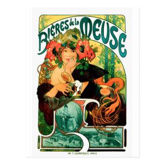 Cartão Postal Cerveja das belas artes de Meuse Alphonse Mucha
