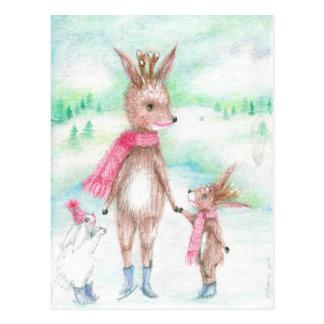 Cartão Postal Cervos das mamães com bebê de Bambi e huggles do