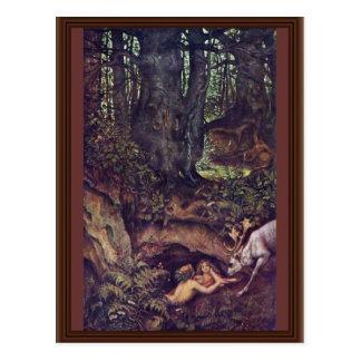 Cartão Postal Cervos das sereias que Mortifying por Schwind