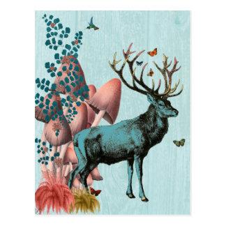 Cartão Postal Cervos de turquesa na floresta 2 do cogumelo