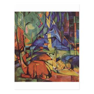 Cartão Postal Cervos - Franz Marc