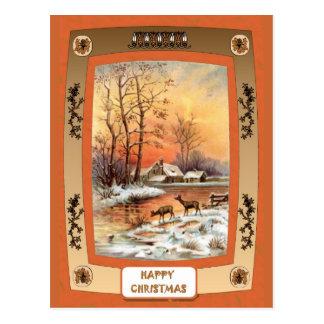 Cartão Postal Cervos pelo rio