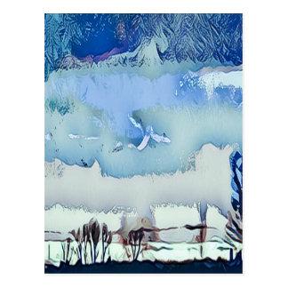 Cartão Postal Céu colorido do horizonte do abstrato do azul do