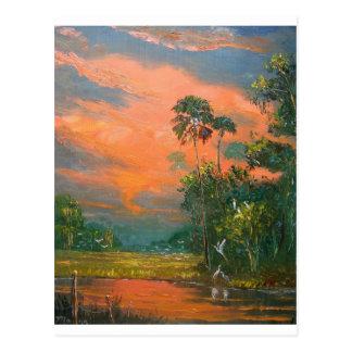 Cartão Postal Céu do fogo sobre a lagoa