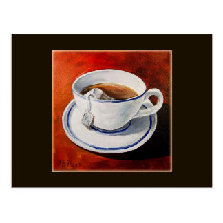 Cartão Postal Chá da fabricação de cerveja em um copo