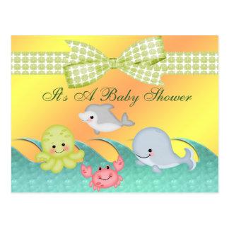 Cartão Postal Chá de fraldas animador das criaturas do mar do