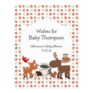 Cartão Postal Chá de fraldas animal da floresta, desejos para o