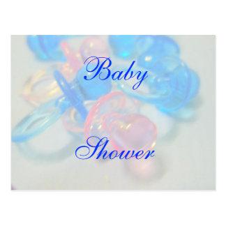 Cartão Postal Chá de fraldas cor-de-rosa e azul bonito