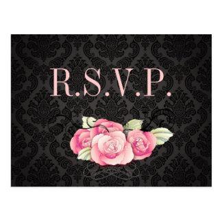 Cartão Postal Chá de panela preto gótico do rosa do rosa do