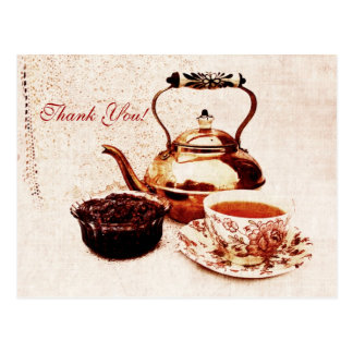 Cartão Postal chá-pote de bronze, um copo do chá e tanque do