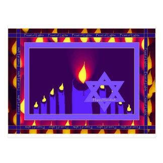 Cartão Postal chama de vela 9 na beira roxa-lavend 1 da estrela