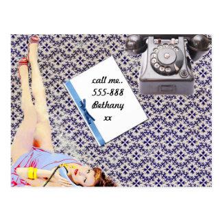 Cartão Postal Chame-me - estilo do vintage