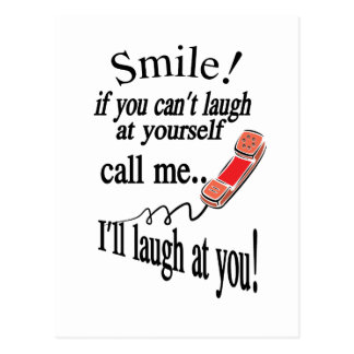 Cartão Postal Chame-me, mim rirá de você. Cínico e muito