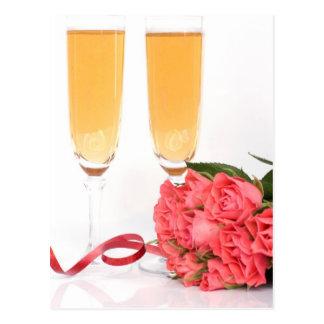 Cartão Postal champanhe flauta