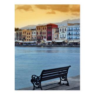 Cartão Postal Chania no crepúsculo, Chania, Crete, piscina