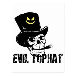 Cartão Postal Chapéu alto do mau do crânio e do charuto