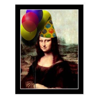 Cartão Postal Chapéu da festa de aniversário de Mona Lisa