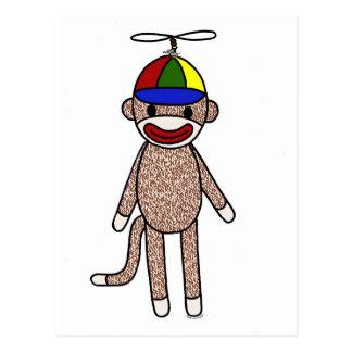 Cartão Postal Chapéu da hélice do macaco da peúga
