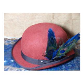 Cartão Postal Chapéu de jogador com pena do pavão