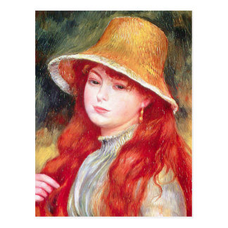 Cartão Postal Chapéu de palha de Renoir