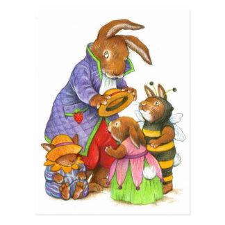Cartão Postal Chapéus do coelho por Katy Bratun