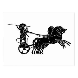 Cartão Postal Chariot (carruagem) do cavalo, design grego do