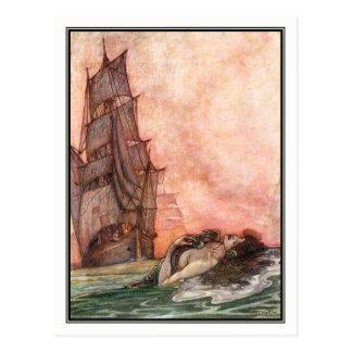 Cartão Postal Charneca Robinson de William - arte do navio do