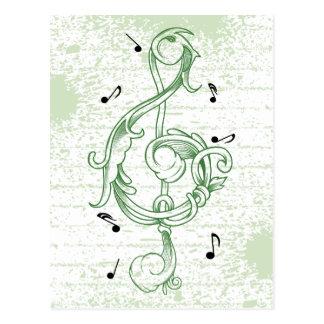 Cartão Postal Chave da nota do solenóide do scrollwork do verde
